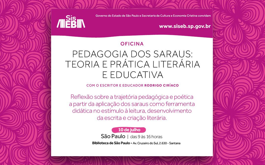 Inscreva-se na oficina teórica e prática sobre a pedagogia dos saraus em São Paulo